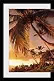 GreatBIGCanvas ''Hawaii, Maui, Kihei, Sunset at Kamaole One'' by Ron Dahlquist Photographic Print with Black Frame, 24'' x 36''
