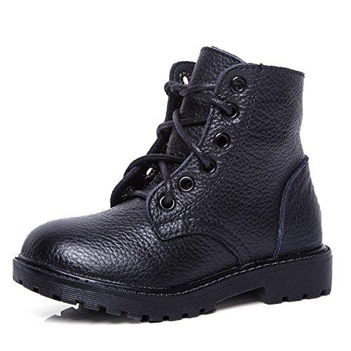 Hoxekle Boys Winter Warm British Combat Hiking Boots Kid Toddler Non Slip Black Zipper Ankle Martin Boot