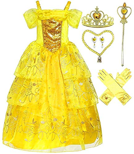 Romy's Collection Girls Deluxe Yellow Belle Dress up Gown Costume w/Accessories 3-4 -