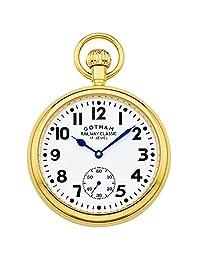Gotham Men's Gold-Tone Mechanical Hand Wind Railroad Pocket Watch # GWC14104G