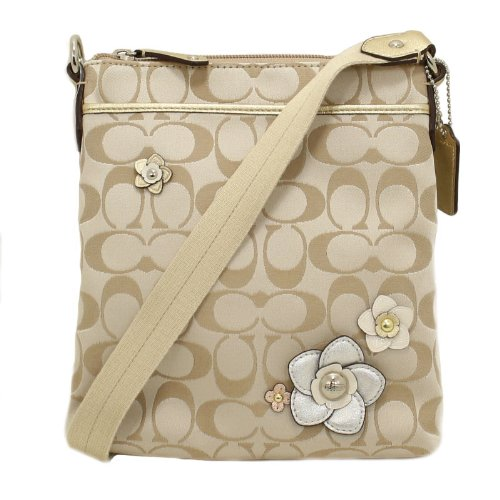 COACH Signature Floral Applique Swingpack Crossbody 49307 - Bags Central