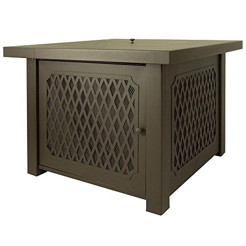 Pleasant Hearth Huxley 38 in. Lattice Gas Fire Pit Table in Bronze