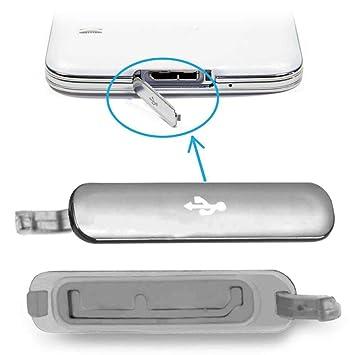 Tapa Micro USB para Samsung Galaxy S5 G900F Cubierta Repuesto Conector Plata