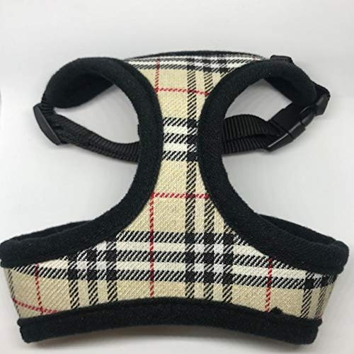 Tan Plaid (Burberry Like) Dog Harness Medium - Neck Max 16 Girth Max 22 by Three Boys of Scottsdale Pet Boutique - Harnesses Run Small, so Please Order Next Size up to Ensure fit!