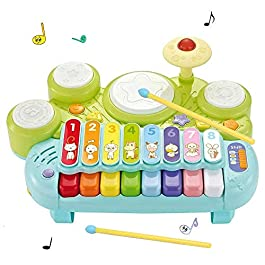 3 in 1 Musical Instruments Toys, Rabing Electronic Piano Keyboard Xylophone Game Drum Set with Light, Learning…