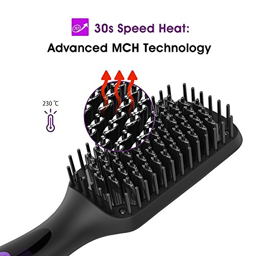 Ionic Hair Straightener Brush, GLAMFIELDS Electrical Heated Irons Hair Straightening with Faster Heating, MCH Ceramic Technology, Auto Temperature Lock, Anti Scald, Heat Resistant Glove by GLAMFIELDS (Image #3)