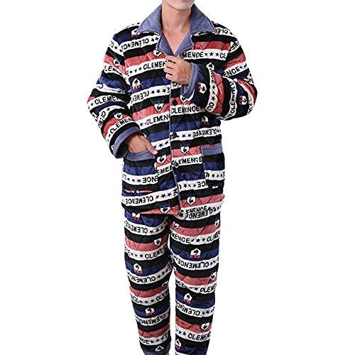 Pants Striped Pajama Flannel (AHZZY Flannel Men Pajamas Set Plaid Jacket + Pant Set Plus Size Men Clothing Set Size X-Large (Striped))