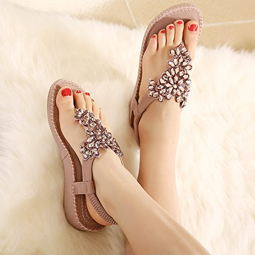 Sandals ZHIRONG Wedges Women Summer Rhinestone Folding Feet Ethnic Style Retro Beach Shoes Bohemian Comfortable Soft Bottom (Color : B, Size : EU36/UK3.5/CN35) B