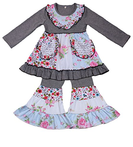 Yawoo Haan Kids Girls Ruffle Dress Pants Party Clothing Set Boutique Outfits Grey -