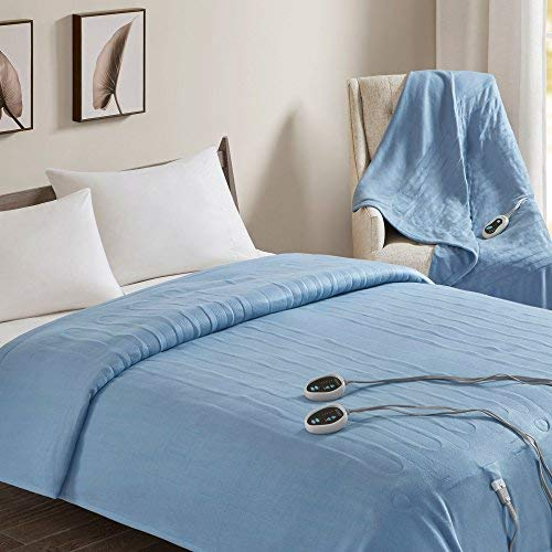 Beautyrest - Heated Fleece Blanket and Throw Combo Set - Blu