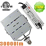 NUOGUAN 240W LED Retrofit Flood Light (1000W HID Replacement) 30000 Lumens Mogul E39 Base Cool White 6000K External Meanwell Driver AC100-277V for Garden Parking Lot Lighting