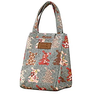 WOOSAL Fold-over Insulated Lunch Bag with Handle and Velcro Closure,Cartoon Rabbits Lunch Box Tote Cooler Bag for Picnic School Travel (Rabbits)