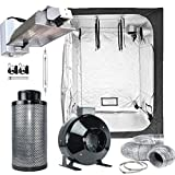 TopoLite Grow Tent Complete Kit Hydroponic Indoor Growing System DE 1000W Grow Light Kit + 60''x60''x80'' Grow Tent + 6'' Carbon Filter Combo (DE1000W Enclosed+60''x60''x80''+6''Filter Kit)