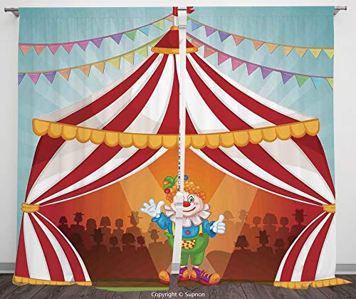 Rod Pocket Curtain Panel Polyester Translucent Curtains for Bedroom Living Room Dorm Kitchen Cafe/2 Curtain Panels/108 x 108 Inch/Circus Decor,Cartoon Clown in Circus Tent Cheerful Costume Funny Enter ()