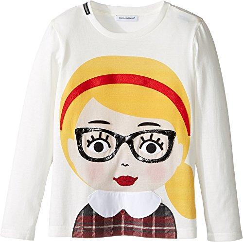 Dolce & Gabbana Kids Baby Girl's Back to School Bimba Bionda Long Sleeve T-Shirt (Toddler/Little Kids) White Print T-Shirt by Dolce & Gabbana
