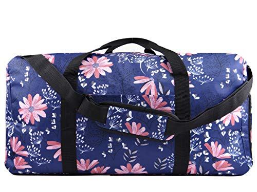 AEV 22 Womens Weekender Duffel Bag with Shoe Pocket, Navy Floral. Versatile as a Weekender or Overnight bag. Carry-on shoulder strap. Sale Today!