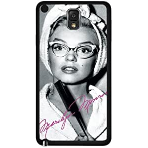 Pretty Black, White and Hot Pink Marilyn Monroe in Cat Rimmed Glasses Hard Snap on Phone Case (Note 3 III) by supermalls