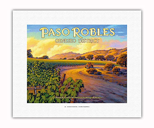 Pacifica Island Art - Paso Robles - Geneseo District - Central Coast AVA Vineyards - California Wine Country Art by Kerne Erickson - Fine Art Rolled Canvas Print - 11in x 14in by Pacifica Island Art (Image #1)