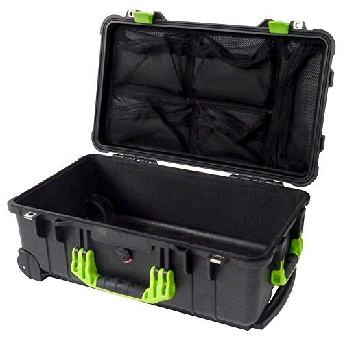Black & Lime Green Pelican 1510 with 1519 Lid organizer. No foam.