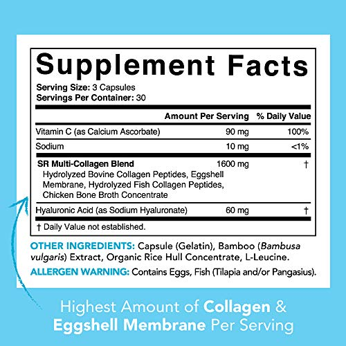 Multi Collagen Pills (Type I, II, III, V, X) Hydrolyzed Collagen Peptides with Hyaluronic Acid + Vitamin C | Contains 5 Types of Food Based Collagen | Non-GMO Verified - 90 Capsules