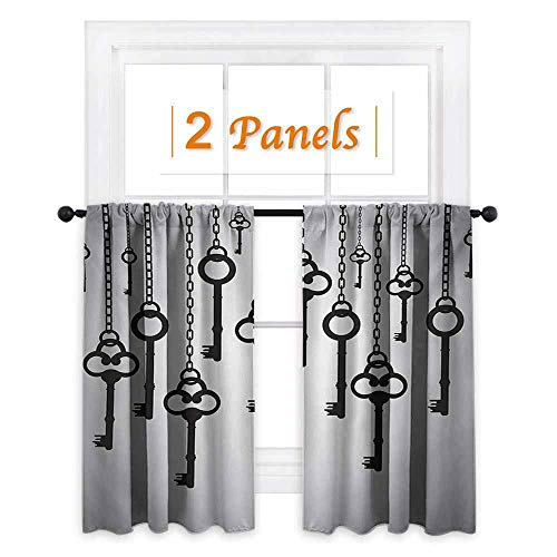 DESPKON-HOME Curtain Kitchen Window, Antique Silhouettes of Old Keys Hanging Chain Links Unlocking Security Home Opener Curtain Doorway, Pale Grey Black W96 x L84