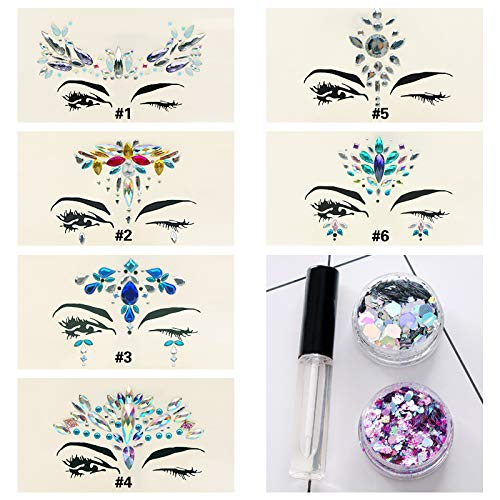 (6 Sets Multicolored Mermaid Body Chest Face Eyes Gems Rhinestones Jewels Crystals Jewelry Stickers Temporary Tattoo for Music Festival Party Carnival+Free Chunky Glitter+Glitter Glue (Pack)