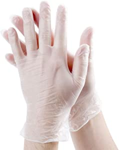 [200 Pack] Disposable Vinyl Gloves, Non-Sterile, Powder Free, Smooth Touch, Food Service Grade, Small Size