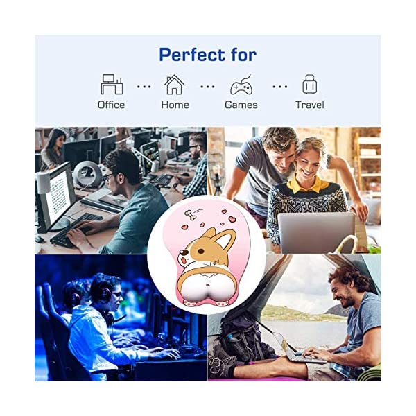 Tidoopu Mouse Pad With Wrist Support Gel Ergonomic 3d Mouse Pad Anime Corgi Dog Mousepad Gaming Mouse Mat For Pc Laptops Pink