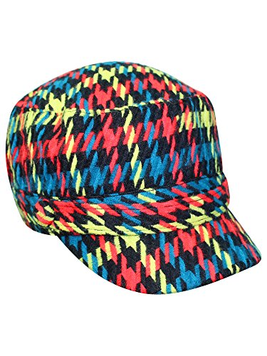 Red Houndstooth Plaid Cadet Cap Hat