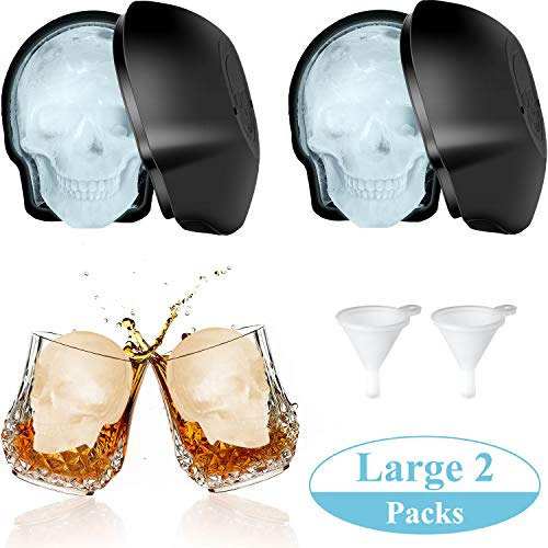 Large 2 Packs 3D Skull Shape Ice Mold Large Silicone Skull Ice Trays with 2 Silicone Funnels for 400 ml Big Mouth Cup, Party Favors]()