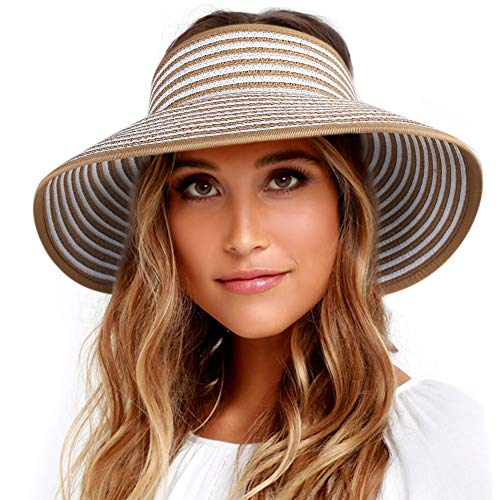 Khaki Womens Visor - Sun Visor Hats for Women Wide Brim Straw Roll Up Ponytail Summer Beach Hat UV UPF 50 Packable Foldable Travel FURTALK (One Size, 21.6''-23.6'' Khaki White Stripes)