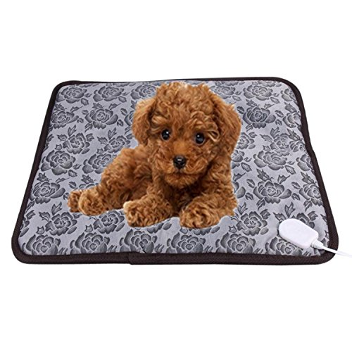 UBEI New Upgrade Design Pet Electric Heating Pad For Dogs Cats Waterproof Adjustable Warming Cats Mat With Chew Resistant Steel Cord Flower Color 17.7''x17.7'' by UBEI