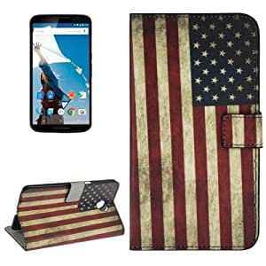 Retro US Flag Pattern Leather Case with Holder & Card Slots & Wallet for Google Nexus 6