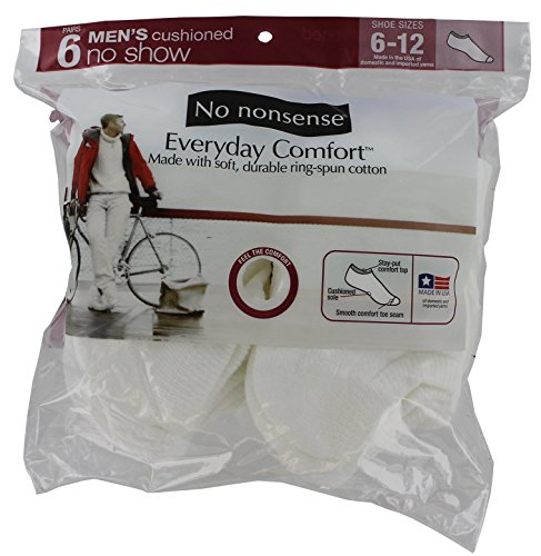 Price comparison product image No Nonsense Men's Cushioned No Show Socks (6 Pack) Made in USA,  White,  One Size,  6-12