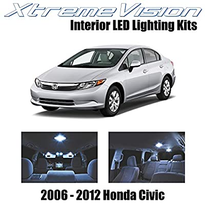 XtremeVision Interior LED for Honda Civic 2006-2012 (10 Pieces) Cool White Interior LED Kit + Installation Tool: Automotive