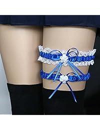 JYS365 Women Leg Garter Lace Trim Bowknot 2Pcs/Set Bowknot Lace Garter Sexy Bridal Wedding Cosplay Decor Royal Blue
