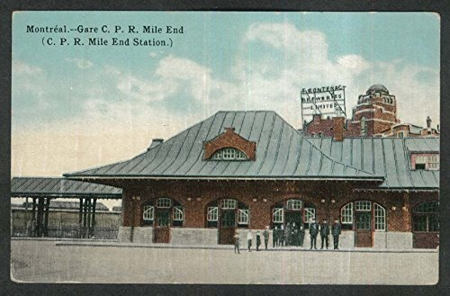 CPR Mile End Station Frontenac Brewers Montreal Quebec Canada postcard 1910s