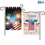 Toperd Happy Independence Day July 4th Garden Flag USA Vertical Double Sided Burlap Banner House Flag for Home Outdoor Yard Holiday Decor 12 x 18 Inch