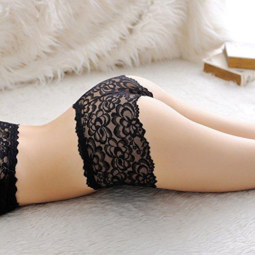 4 Damen Hotpants Schwarz - Spitzen Panty | Hipster Größe 34-36