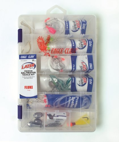 Eagle Claw Lazer Sharp Fluke Saltwater Tackle Kit, 30 Piece