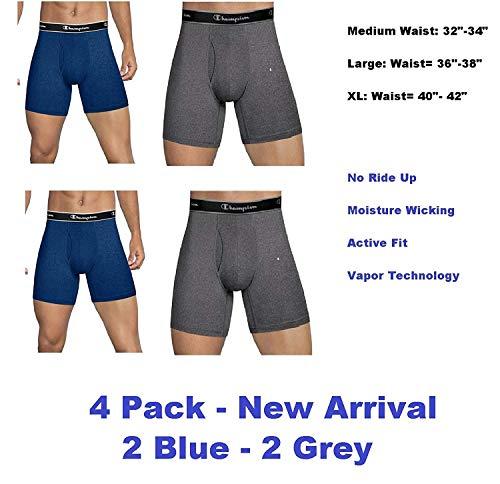 Champion Mens Elite SmartTemp Boxer Briefs, 4 -Pack (X-Large, Grey-Blue)