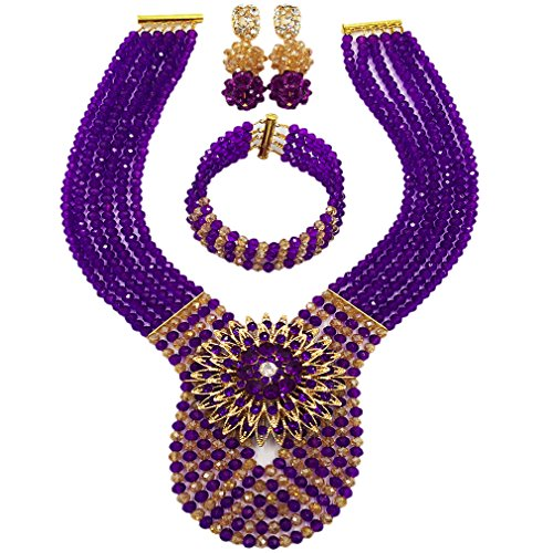 laanc Womens Wedding 6 Rows Champagne Gold AB and Multicolor Crystal Beads African Jewelry Sets (Purple Champagne Gold AB)