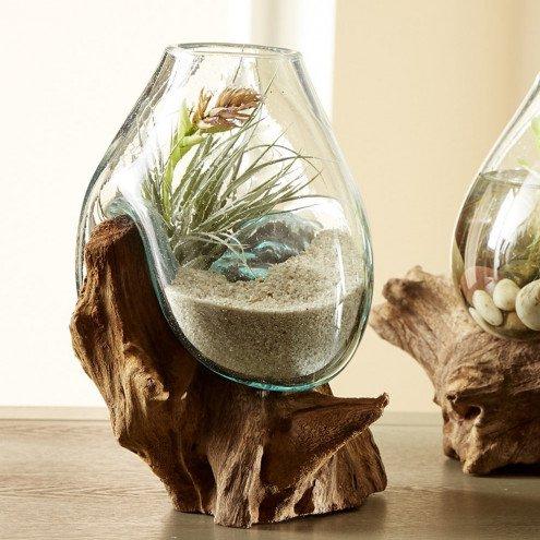 Teak and Blown Glass Vase Sculpture by Vivaterra