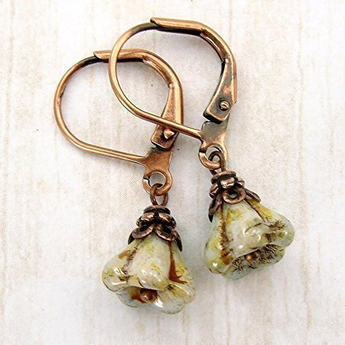 Small Light Green Flower Bead Leverback Earrings in Antiqued (Vintage Pin Earrings)