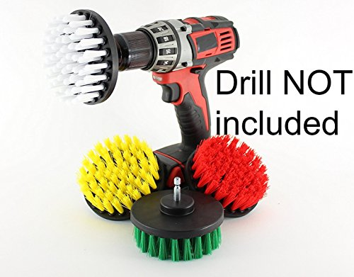 Drill Powered Scrub Brush for Cleaning Showers, Tubs, Bathrooms, Tile, Grout, Carpet, Tires, Boats 4 inch With Quick Change Shaft (RED STIFF)
