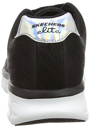 Skechers SynergyMoonlight Madness - Zapatilla Deportiva de Lona, Mujer Negro (bkw)