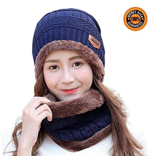 Women Fashion Hats and Scarf Set HINDAWI Thick Knit Skull Cap Warm Winter Snow Slouchy Beanies Navy