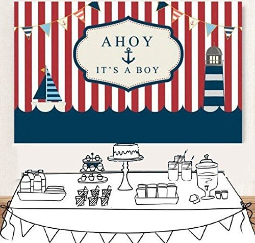 Nautical Anchor White red Striped Boat boy Baby Shower Portrait Cloth Computer Print Birthday Backgrounds ey279843022