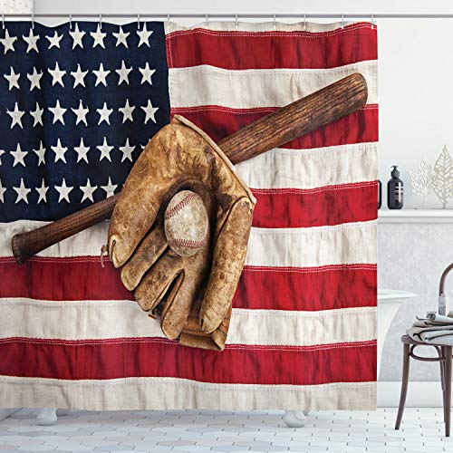 Ambesonne Baseball Shower Curtain, Vintage Baseball League Equipment USA Grunge Glove Bat Fielding Sports Theme, Cloth Fabric Bathroom Decor Set with Hooks, 70 Long, Brown Red