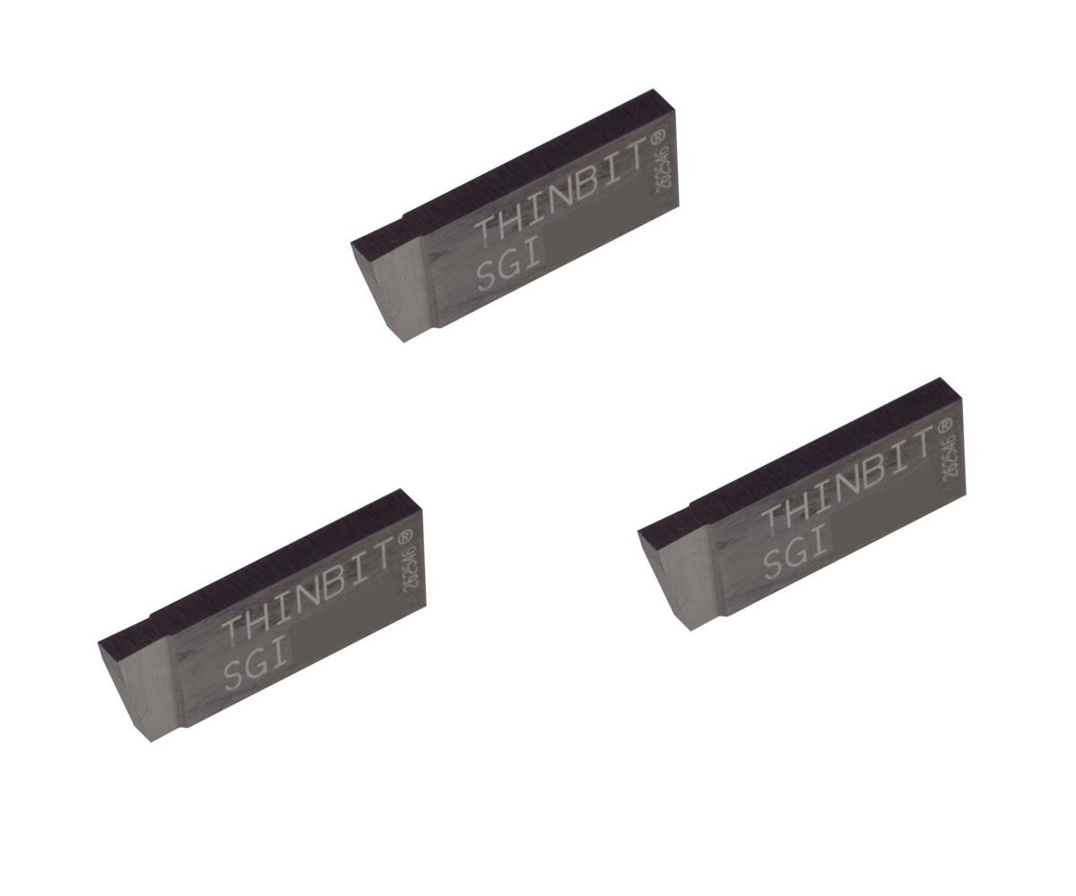 Sharp Corner THINBIT 3 Pack SGI062D2E 0.062 Width 0.100 Depth Grooving Insert for Steel Titanium TiAlN Coated Carbide Nickel Alloys and Stainless Steel with Interrupted Cuts